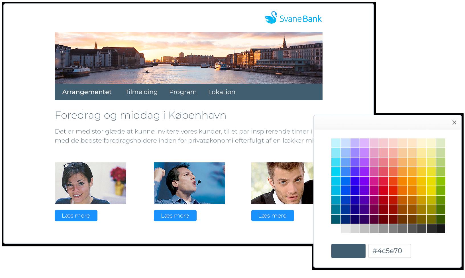 Design tilmeldingswebsite til arrangementet