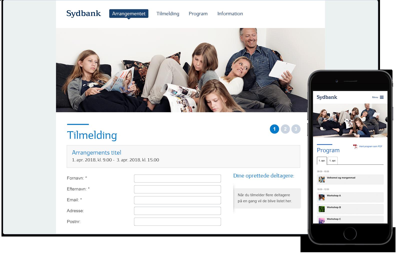 Sydbank website skabelon i Conference Manager